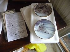 #1118 vtg miniature collector plates 2 Aql Agnew A Second Chance / Solitude Wolf