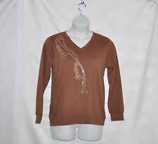 Bob Mackie Crystal Embellished Knit Top Size S Cocoa