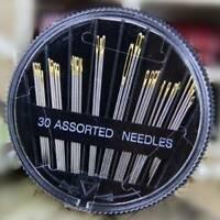 30Pcs Self-Threading Sewing Needles - ASSORTED SIZES - EASY THREAD- Big Eye Kit