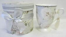 Gift Boxed Mug White Has Rose Floral Design With Tassel Makes Great Gift BRV001