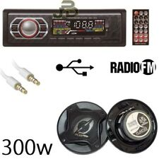 KIT AUTO AUTORADIO STEREO FM RADIO MP3/SD + COPPIA CASSE AUTO 300W + CAVO AUX