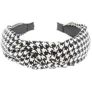 Ladies Top Knot Fabric Small Dogtooth Houndstooth Plaid Print Headband Alice Ban
