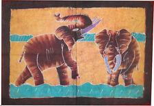 Batik Afrique de Cote d'Ivoire couple d elephants