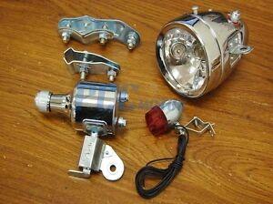 Bicycle Motorized Bike Friction Generator Headlight Tail Light Kit 12V 6W M LT36