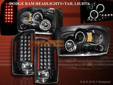 2007-08 DODGE RAM LED PROJECTOR HEADLIGHTS TWO CCFL HALO + LED TAIL LIGHTS BLACK