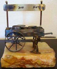 ANTIQUE METAL HOT DOG HAT ROCK ART ON STONE Vintage Old Decor