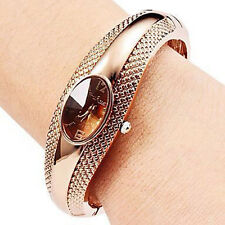 Hot Women Watch Golden Oval Quartz Watch Lady Cuff Bangle Bracelet Wrist watches