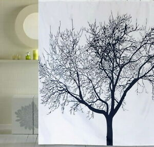Black Tree Abstract Design Modern Bathroom Fabric Polyester Shower Curtain 2s216