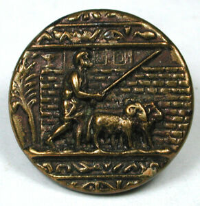 """Antique Brass Button Man with 2 Rams Scene  - 1890s - 5/8"""""""