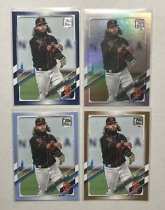 2021 Topps Series 1 Brandon Crawford #315 Blue Fathers Day, Gold, Rainbow, Blue