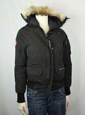 Canada Goose Worn Chilliwack Black Bomber Jacket Women's 2XS XXS Coyote Fur