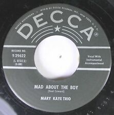 50'S & 60'S 45 Mary Kaye Trio - Mad About The Boy / My Funny Valentine On Decca