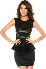 Women's Ladies Front Rivets Adornment Peplum Party Short Sexy Club Dress Size M