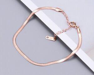 """Women Titanium Stainless Steel Rose Gold Flat Chain Anklet Bracelet 7.8-9.6"""""""