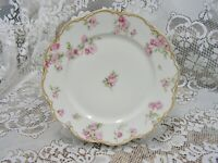 "antique haviland limoges schleiger 39d dbl gold drop rose dinner plate 9"" * mint"