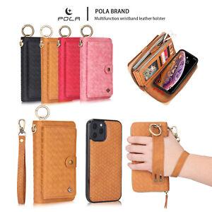 For iPhone 12/11 Pro Max SE20 Detachable Leather Wallet Zipper Purse Case Cover