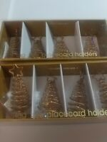 Gold colored SPARKLE CHRISTMAS TREE Placecard Holders (set of 8)