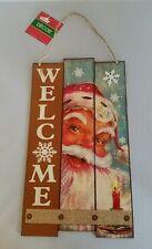 "Santa Welcome Sign Vintage Christmas House Decor Holidays Hanging Door 8""x13"""
