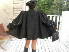 Black Karakul Swakara Fur Coat Jacket Bolero XXL + Hat