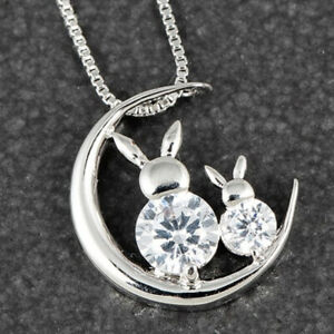 Bunnies and Moon Platinum Plated Necklace - Gift Boxed