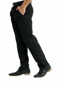 Mens Black Trousers Formal Office Work School Uniform Smart Pants Big Plus 30-50
