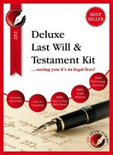 DELUXE LAST WILL AND TESTAMENT KIT, 2019 Edition, SUITABLE for 1 or 2 PERSONS.