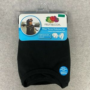 Fruit of the Loom Boys Performance Base Layer Thermal Top and Bottom Black L