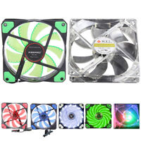 12V 3-4Pin 15 LED Neon Light Quite Clear Case 120mm PC CPU Cooling Fan Lot