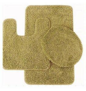 3pc solid plain  assorted colors bathroom rugs contour mat toilet lid cover set