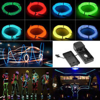 Led EL Wire Rope Flexible Neon Glow Light  for Car Dance Party + 12V Controller