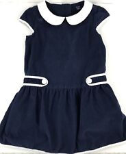 Baby Gap Dress Blue Corduroy White Peter Pan Collar Accents Girls Size 4