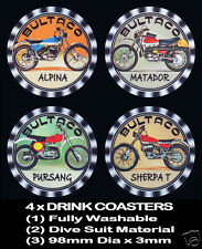 4 x BULTACO ALPINA MATADOR PURSANG SHERPA, MOTORCYCLE MOTOR CYCLE DRINK COASTERS