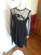 LADIES ASOS BLACK NET FIT AND FLARE DRESS WITH UNDERGARMENT SIZE 14 BNET