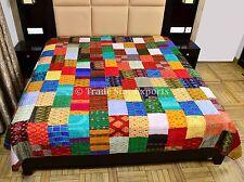 Indian Silk Sari Kantha Quilt Ralli Vintage Bedspread Reversible Patchwork Throw
