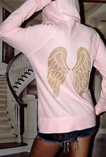 Victoria's Secret Medium Sequin Bling Angel Wing hoodie pink and gold rare