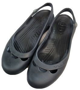 CROCS Jayna Black Ballet Flat with Small Flower Size Cutouts Slingback 11 Wide
