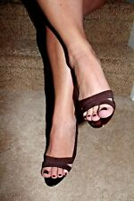 APT 9 WOMEN'S OPEN TOE DRESSY CASUAL HEEL SHOES LIGHTLY WORN BROWN SIZE 8 $69
