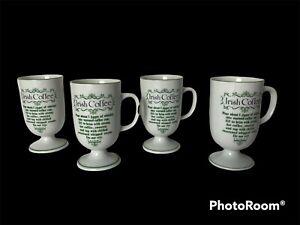 "Vintage Irish Coffee Footed Mugs With Recipe 5""  Set Of 4"