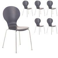 6 x Kimberley Slate Grey Stacking Dining Chairs Chrome Metal & Wood Keeler Style