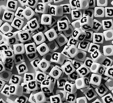 Letter G - 100pc 7mm Alphabet Beads White with Glossy Black Letters