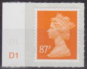 z4970) Great Britain - Machins 2012 MNH  SG u2930 87p M12L Cyl. D1 Tab