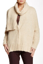 NEW Lafayette 148 Attached Scarf Cardigan in Moccasin - Size PS