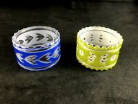 🟢 Set of 2 Cut to Clear Art Glass Blue & Green Napkin Rings