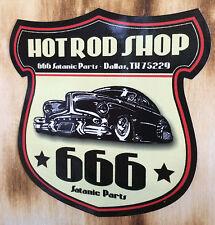 Hot Rod Shop Aufkleber / Satanic 666 Sticker / Rockabilly Oldschool Sticker USA
