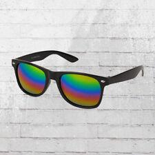 Viper Retro Sonnenbrille schwarz bunt verspiegelte Regenbogen Gläser Sun Glasses