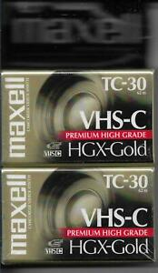 Maxell VHS-C TC-30 HGX-Gold Premium High Grade Video Tapes 2-Pack NEW Sealed