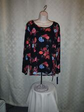 Long Sleeve Blouse XL APT.9 Black Pink Blue Floral print NWT