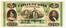 1860'S - $5 CITIZENS BANK OF LOUISIANA -HAXBY G14A - REMAINDER CU