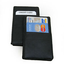 2X Black Genuine Leather Magic Wallet Ticket Credit Card Thin Holder