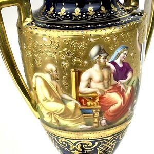 Royal Vienna Gold Gilt Antique Greek Urn Double Handles Lidded Vase Cobalt Blue